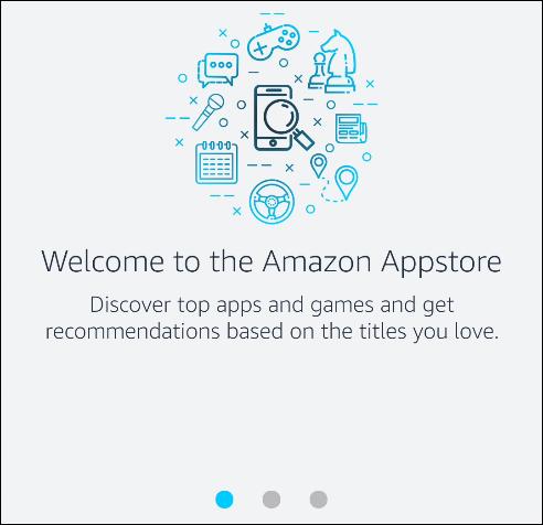 """رسالة """"مرحبًا بك في Amazon Appstore""""."""