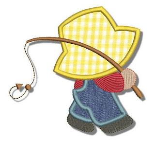 Imágenes Bordadas de Niños con Sombreros Grandes.