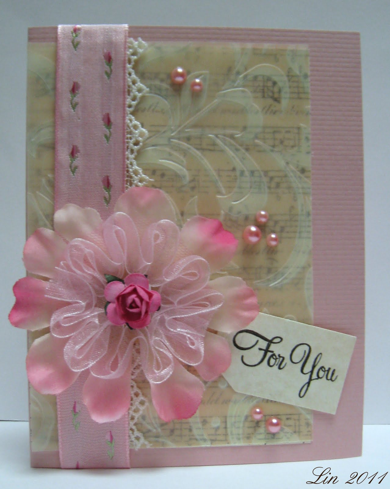 Cream colored cardstock paper studio - I M Also Entering This Card Into The Ribbon Reel Shabby Strawberries And Cream Challenge Supplies Pink And Parchment Cardstock Paper Studio