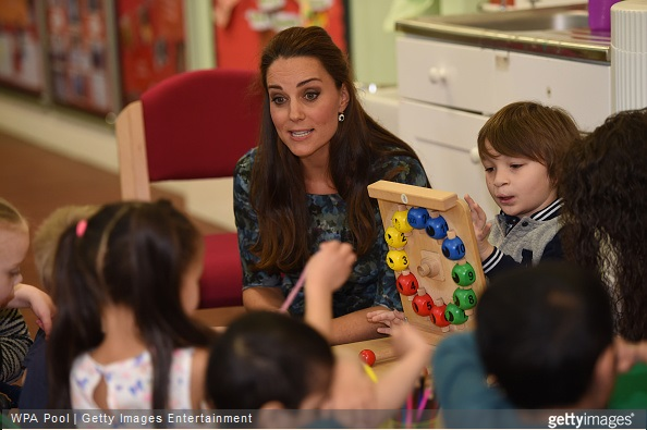 Catherine, Duchess of Cambridge visited Cape Hill Children's Centre on February 18, 2015 in Smethwick, England