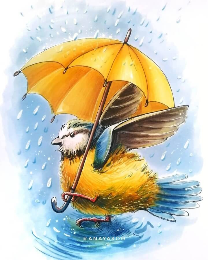 03-Little-bird-and-umbrella-Anya-Yakovleva-www-designstack-co