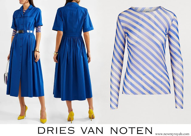 Queen Rania wore a cotton midi shirt dress and striped top by Dries Van Noten
