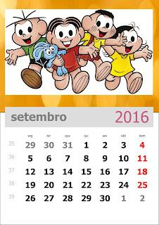 Calendário Turma da Mônica 2016 Setembro