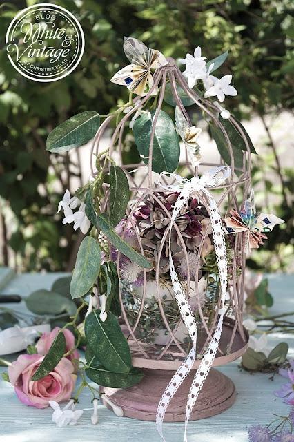 Vintage Vogelkäfig mit Geldscheinen als Hochzeitsgeschenk