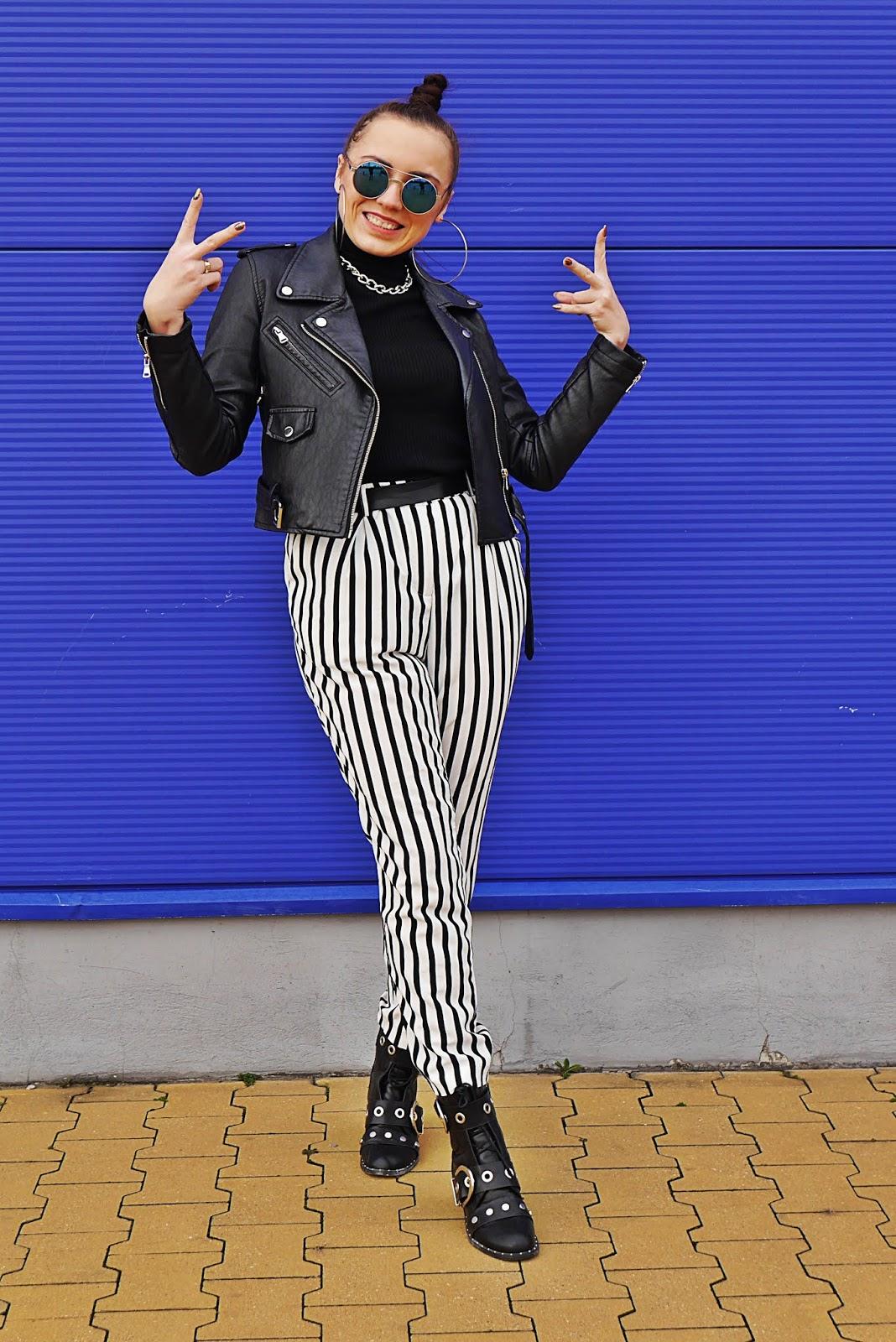 fashion blogger karyn biker jacket stripes pants blue sunglasses pulawy outfit look