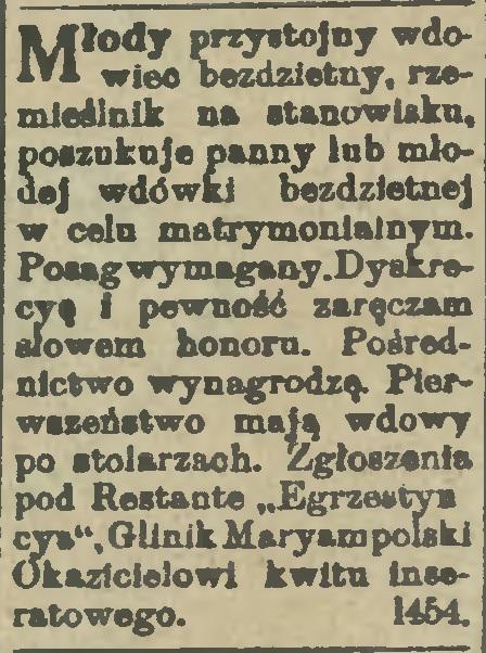Ogłoszenie matrymonialne Glinik Mariampolski 1914