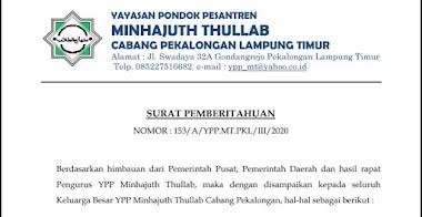 Surat Pemberitahuan Yayasan Pondok Pesantren Minhajuth Thullab Pekalongan Lampung Timur
