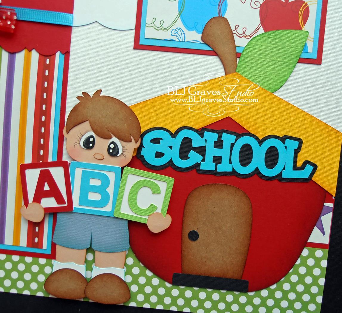 Creative Book Cover Decoration : Blj graves studio school boy girl scrapbook pages