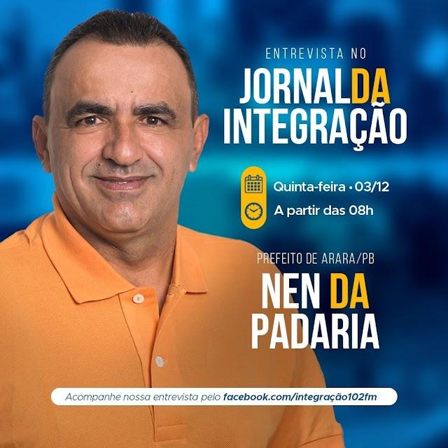 Prefeito de Arara será a entrevista nesta quinta-feira na rádio Integração 102 FM