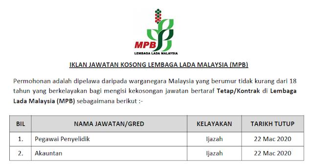 kerja kosong lembaga lada malaysia 2020