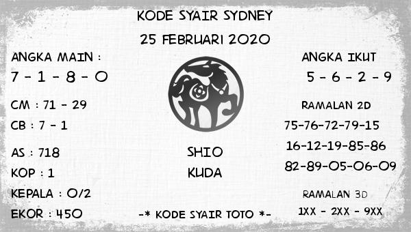 Prediksi Togel JP Sidney 25 Februari 2020 - Kode Syair Toto