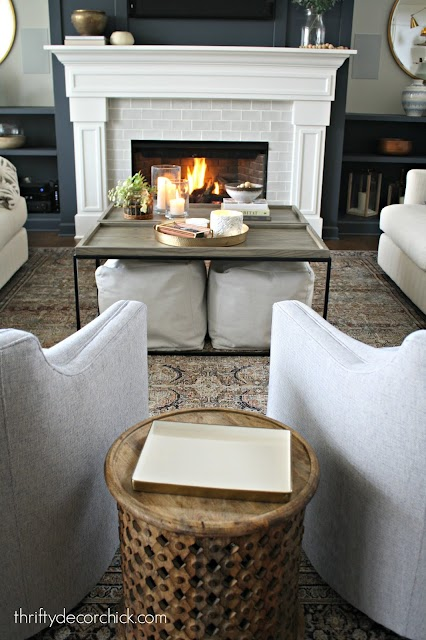 double coffee table with ottomans