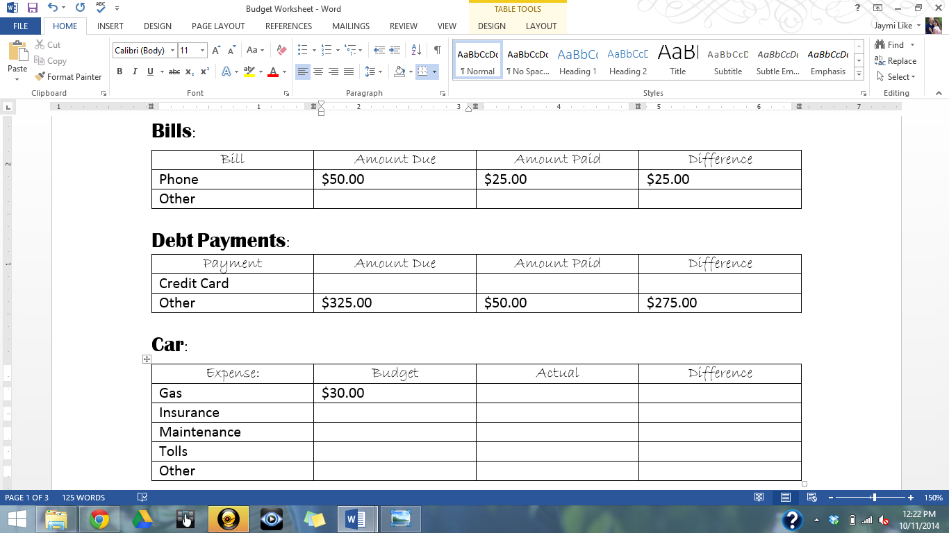 High School Student Budget Worksheet