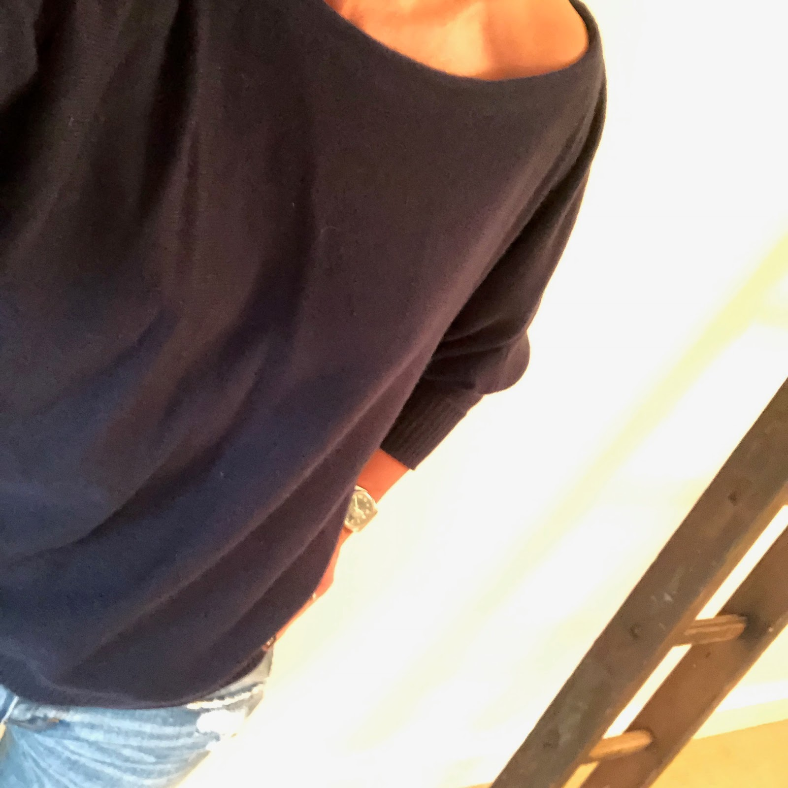 my midlife fashion, iris and ink cashmere off the shoulder jumper, j crew pointed velvet flats, zara distressed cigarette jeans