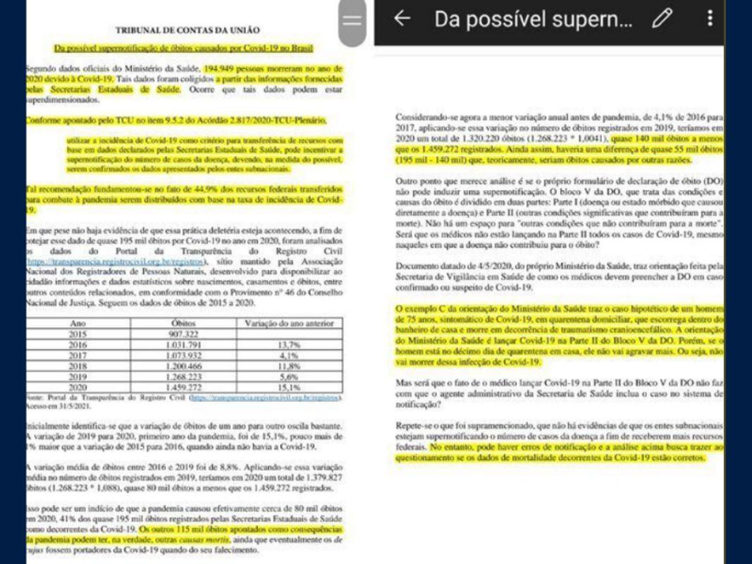 Archivo pdf que fue eliminado de las páginas oficiales luego del anuncio del Presidente Bolsonaro /  Guilherme Ramos
