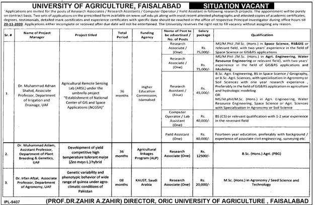 University Of Agriculture Jobs 2020  UAF Announced Multiple Jobs