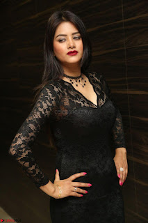 Actress Monica in spicy transparent Black Top at O Pilla Nee Valla Movie Audio Launch Feb 2017 054.JPG