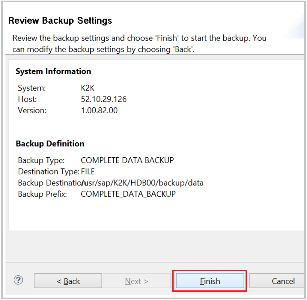 SAP HANA backup review parameters