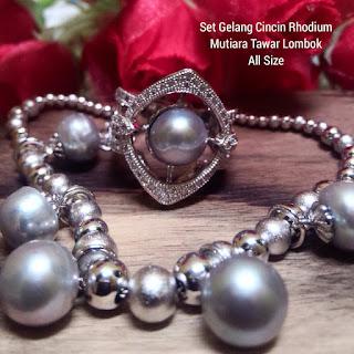 Set Perhiasan Rhodium Mutiara Lombok Air Tawar