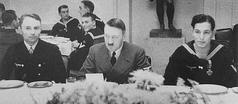 Adolf Hitler and men of U-47 eating lunch in Berlin following the sinking of Royal Oak worldwartwo.filminspector.com