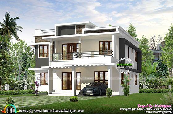 Flat roof style Kerala home design