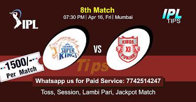 IPL T20 Punjab vs Chennai 8th Match Who will win Today? Cricfrog