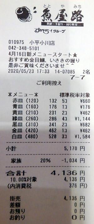 魚屋路 小平小川店 2020/5/23 飲食のレシート
