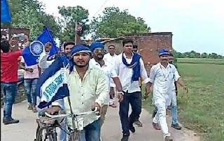 भीम आर्मी के कार्यकर्ताओं ने साइकिल यात्रा निकालकर किया जनसम्पर्क | #NayaSaberaNetwork