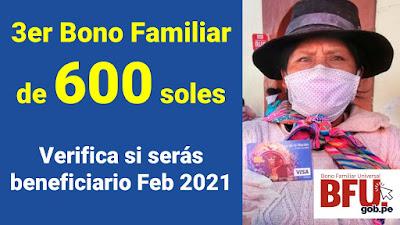 3er BONO FAMILIAR de 600 soles para familias peruanas se entregará desde Febrero 2021