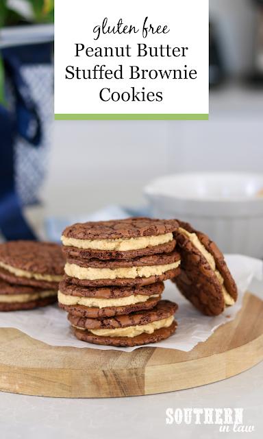 Peanut Butter Stuffed Brownie Cookies Recipe - gluten free, sandwich cookies, copycat butterbing cookies recipe