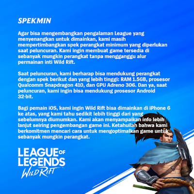Spesifikasi League of Legends Mobile