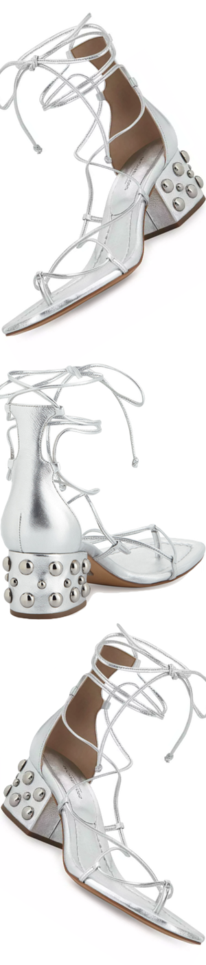 Michael Kors Ayers Leather Lace-Up Sandal, Silver