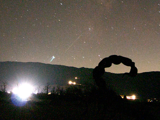 "Cropped photo of metallic scorpion sculpture with ""false"" comet in background (Source: Palmia Observatory)"