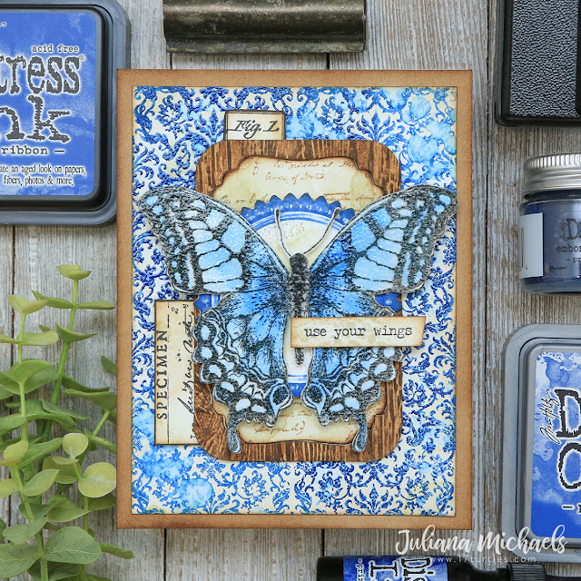 Use Your Wings Card by Juliana Michaels featuring Tim Holtz Prize Ribbon Distress Ink