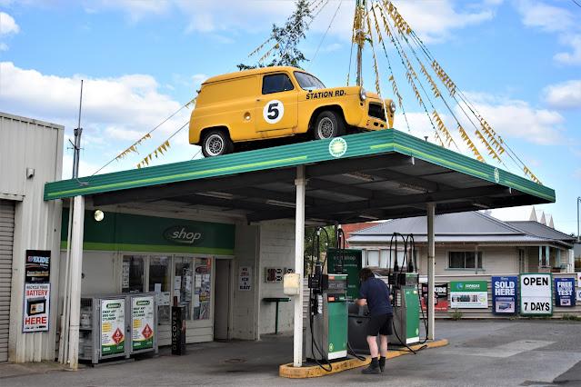 Yellow Car on building | Bp in Dover, Tasmania