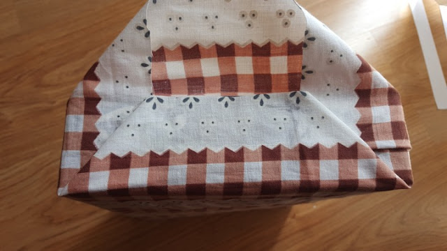 Upcycled: fabric covered gift bag from a cereal box