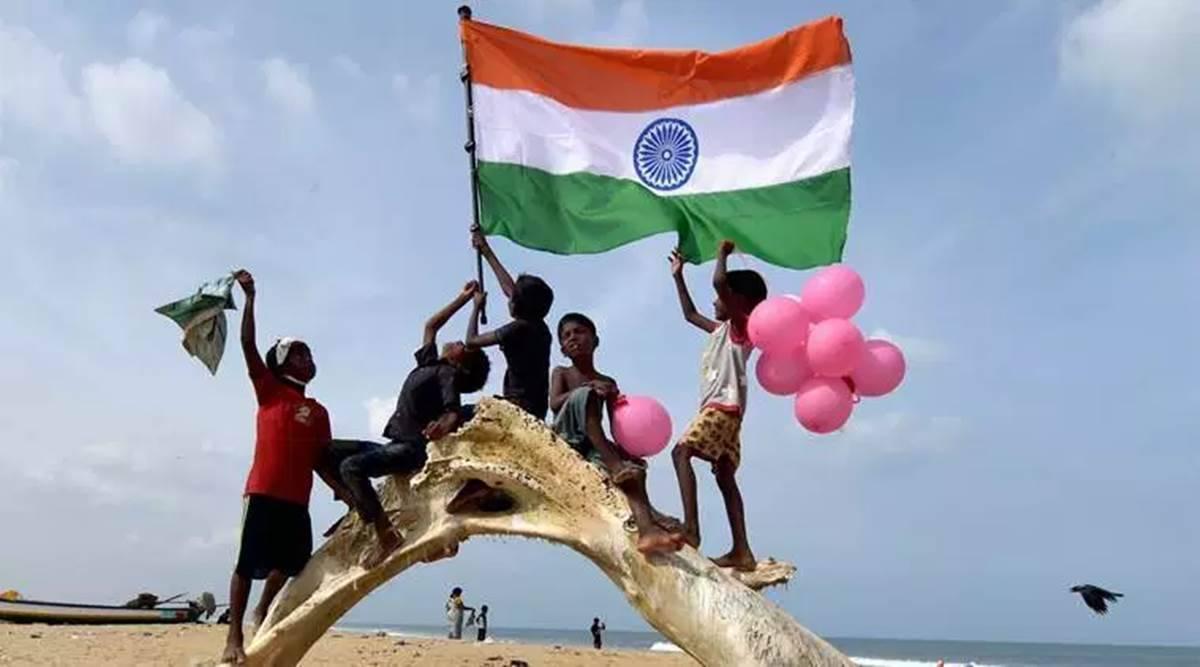 children holding indian flag