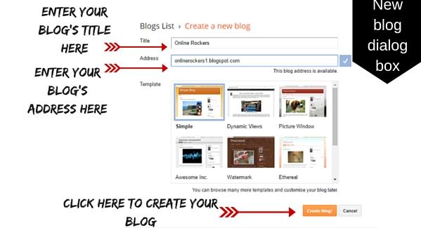 Dialog box to create new blog