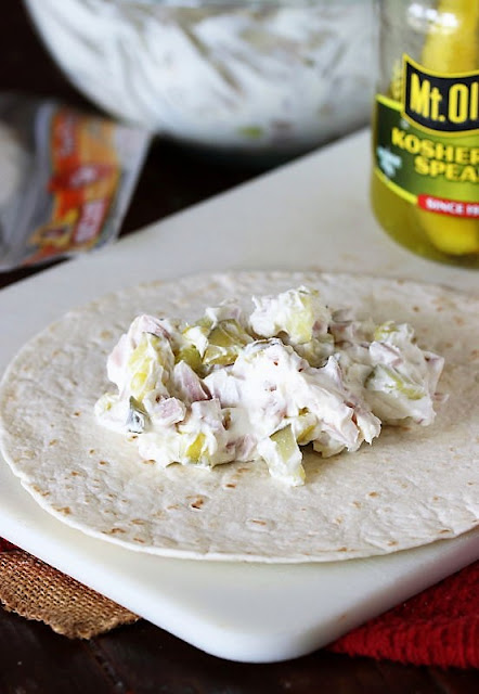 Making Pickle Dip Roll-Ups with Tortillas Image