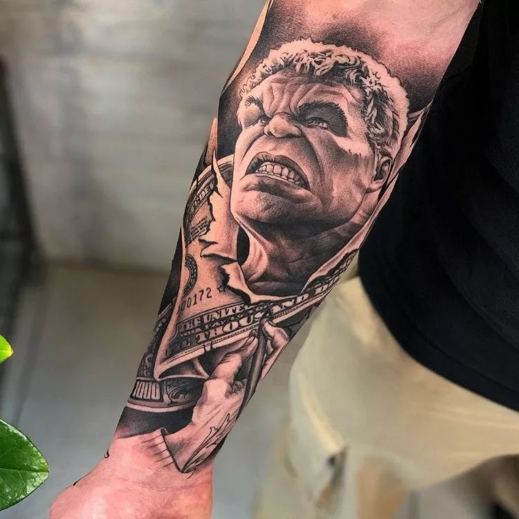 Comic characters (hulk and other) men's forearms ink ideas