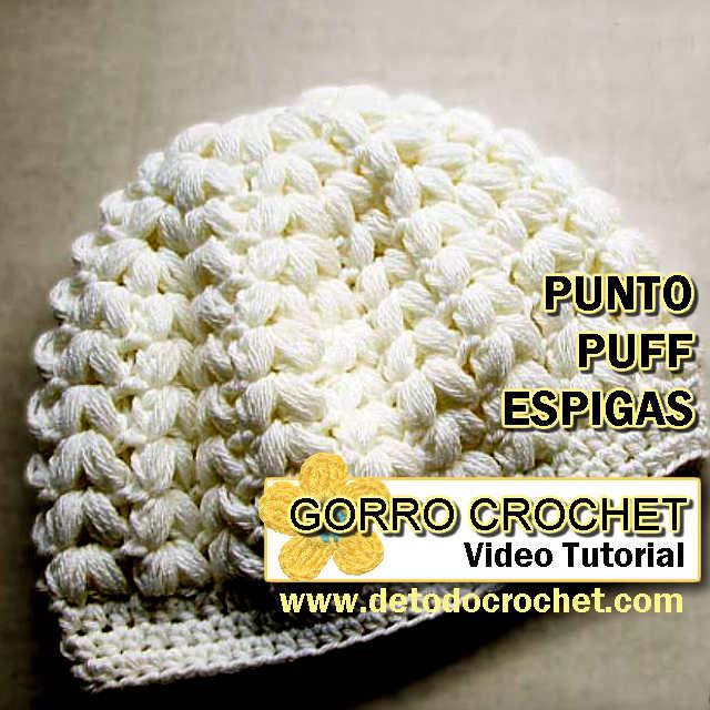 Gorro Crochet en Punto Puf Espigas paso a paso en video