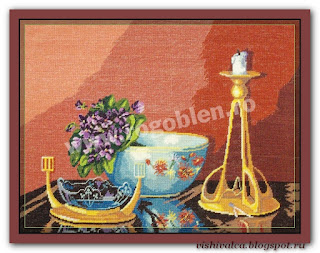 "Download embroidery scheme Rogoblen 8.02 ""Still-Life with Violets"""