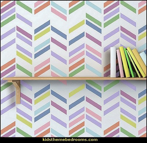 Herringbone Shuffle Allover Wall Stencil-zig zag decorating ideas
