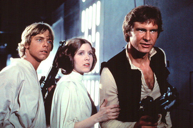 Mark Hamill, Carrie Fisher y Harrison Ford en el filme de 1977