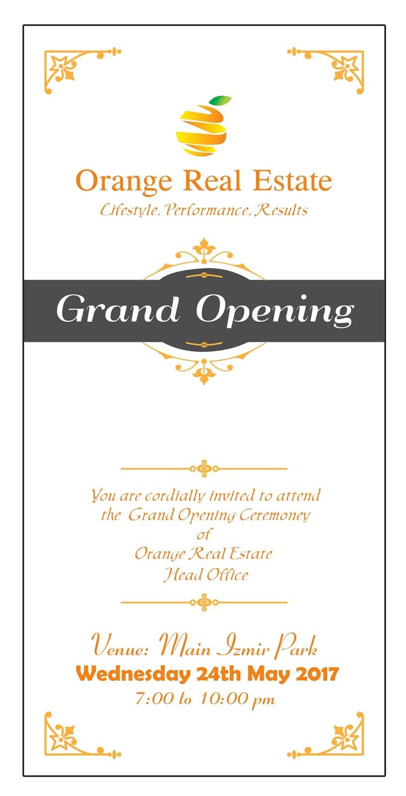 grand opening ceremony invitation card orange real estate by asad