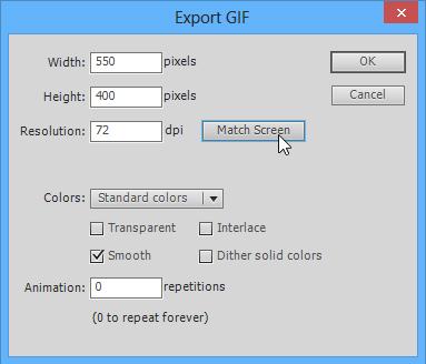 เวลาส่งออกเป็น Gif อย่าลืมเลือก Match Screen เพื่อให้ได้ขนาดเท่าขนาดของ stage