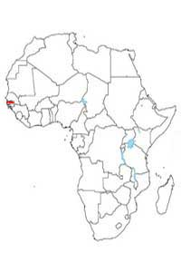 Mapa de localización de los países más chicos del África continental