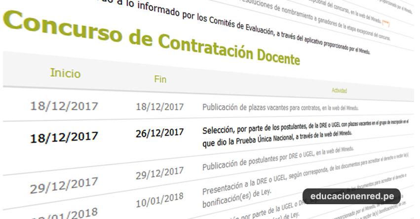 MINEDU: Hasta mañana Martes 26 diciembre inscripción Contrato Docente 2018 - www.minedu.gob.pe