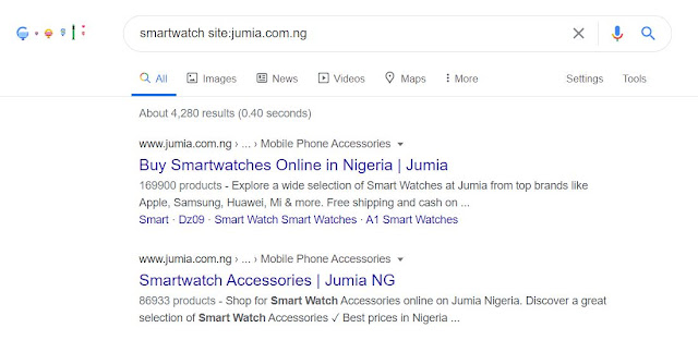 Google search of smartwatch within amazon.com
