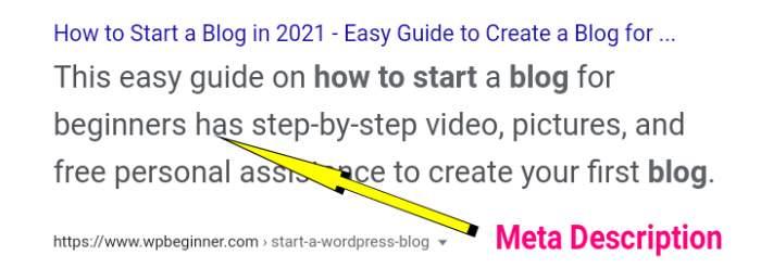 Meta Description in search result
